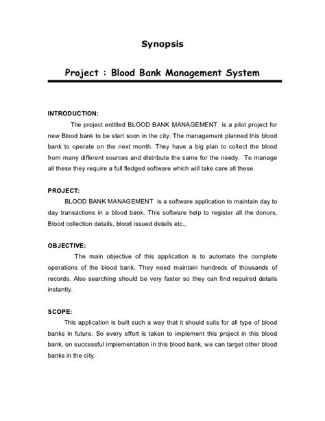 Or Synopsis Academic Project Vb101 Blood Bank Management Synopsis