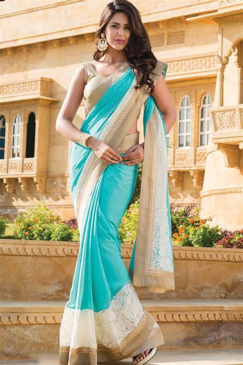 Kaftan India Stella Mix Bordir sky blue plain georgette designer saree in golden shimmer