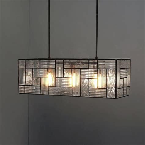 industrial textured glass pendant rectangle west elm
