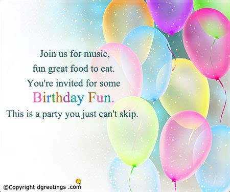 birthday invitation wording birthday invitation message or text