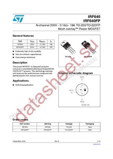 transistor irf 640 irf640 даташит stmicroelectronics бесплатно скачать в pdf datasheet irf640 техническое описание
