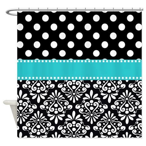 turquoise damask curtains black turquoise damask shower curtain by