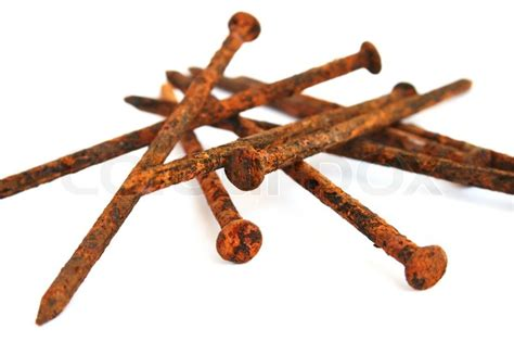 Rusty nails isolated on white background   Stock Photo