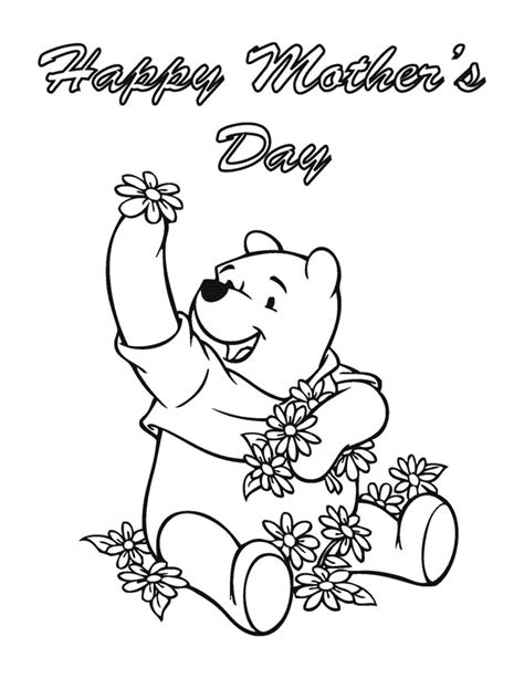 cute coloring pages for mother s day winnie the pooh happy mothers day coloring page h m