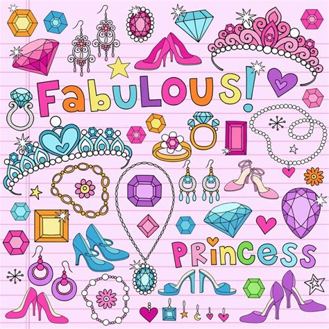 doodle jewels free fotomural notebook doodles vector illustration princesa