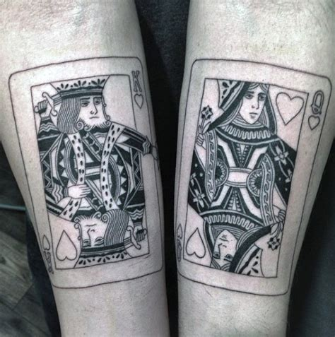king and queen card tattoos 90 card tattoos for lucky design ideas
