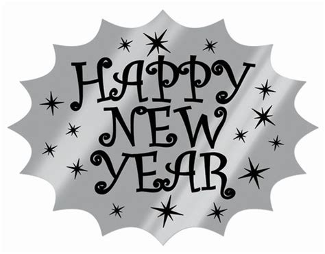new year cut out black and silver foil happy new year cutout partycheap