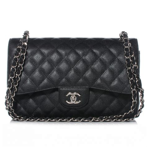chanel bag chanel black quilted caviar classic jumbo 2 55 flap