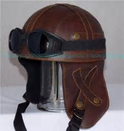 pu leather retro style outrider motorcycle helmet w