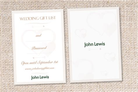 Wedding Card Lewis by Briefbox 187 Wedding Gift List Card For Lewis