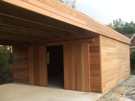 garage bois toit plat abri de jardin en bois avec terrasse abt inspirations et