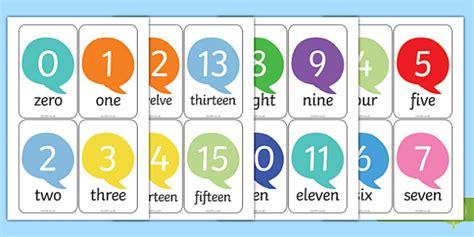 Number Word Flash Cards Printable 1 20