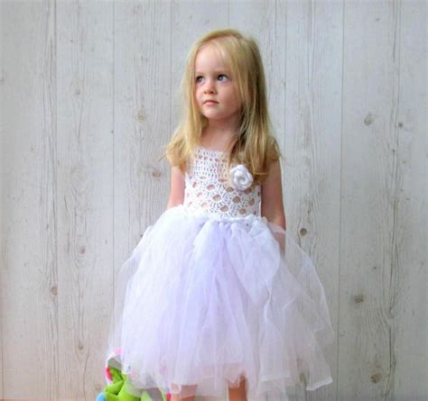 White Flower Crochet Dress christening dresses white flower dress