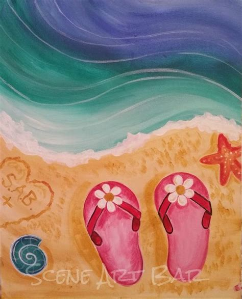 acrylic painting on canvas step by step step by step beginners acrylic painting flip flops in the