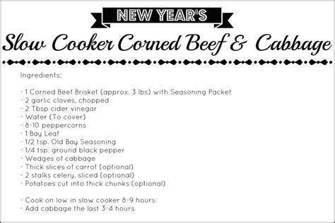 printable pork recipes new years slow cooker corned beef cabbage free