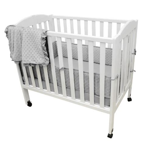 Mini Portable Crib Bedding Sets American Baby Company Heavenly Soft Minky Dot Chenille Portable Mini Crib Bedding Set Gray 3