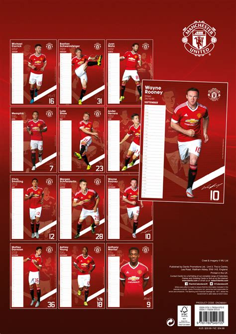 Calendario Manchester United Calendario 2018 Manchester United Fc Europosters It