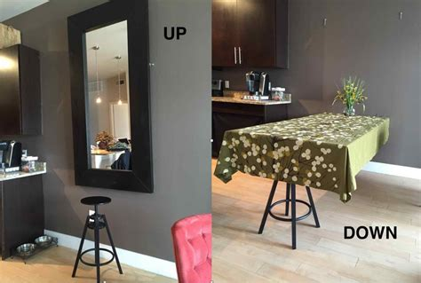ikea hack dining table a hideaway dining table using ikea mirror ikea hackers