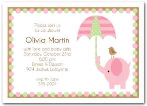 Home baby baby shower invitations elephant amp umbrella girl baby
