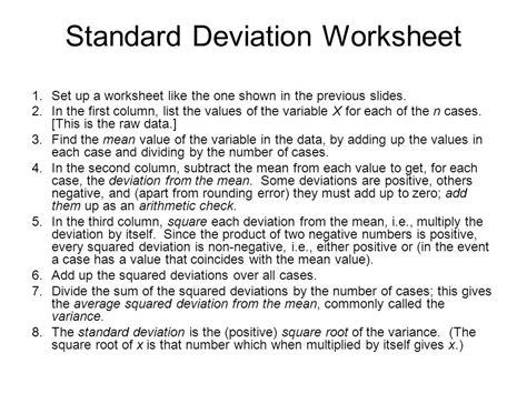 Standard Deviation Worksheet by Measures Of Dispersion Ppt