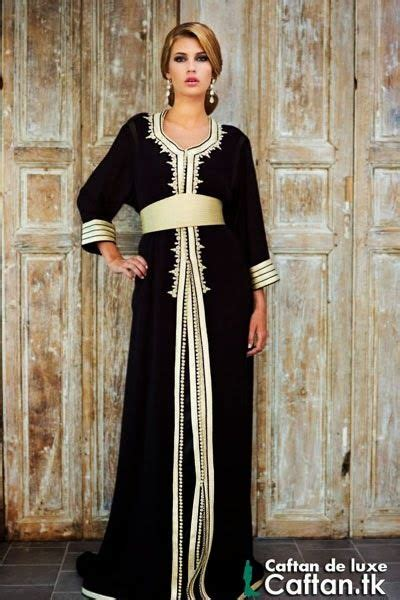 Kaftan Black Satin Laudia Quality caftan marocain noir dor 233 moroccan caftan