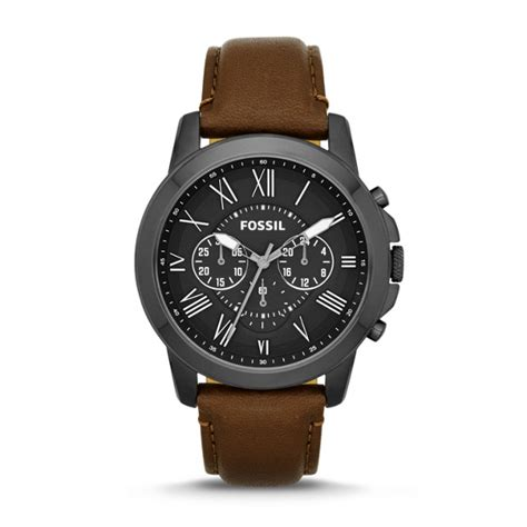 Fossil Black Brown Leather grant chronograph brown leather fossil