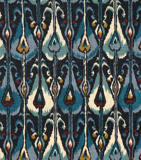 home decor print fabric robert allen ikat bands indigo