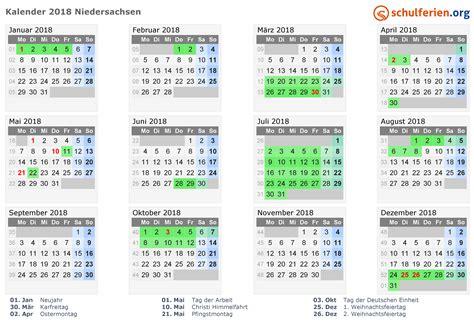Ferienkalender Niedersachsen 2018 Kalender 2018 Ferien Niedersachsen Feiertage