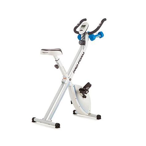 proform 174 x bike folding upright bike with 2 lb weight set