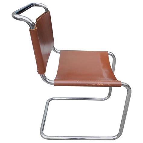 Pair Of Armchairs Bauhaus Design Cantilevered Tubular Metal And Saddle