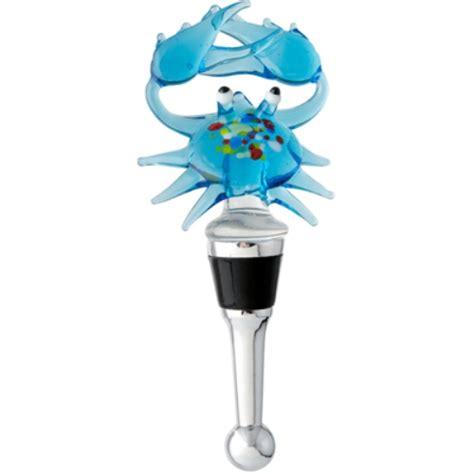 whimsical coastal maryland blue crab glass wine bottle