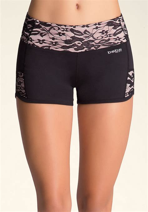 Inset Sport Shorts lace inset shorts bottoms bebe