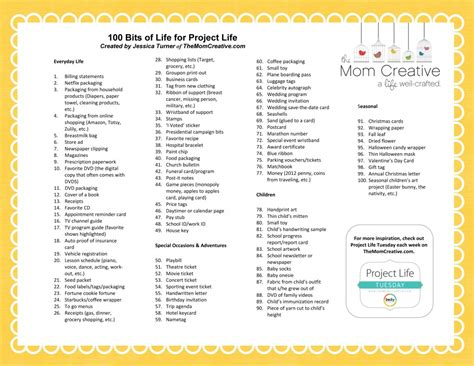 list of biography free printable 100 bits of life for project life the