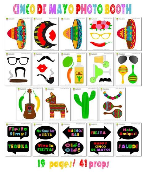 free printable photo booth props mexican cinco de mayo photo booth props42 pieces 31 by