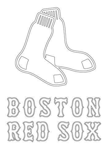 boston red sox logo coloring page free printable