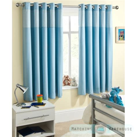 Childrens Blackout Curtains Nursery Childrens Gingham Curtain Thermal Blackout Eyelet Ring Top Curtains Nursery Ebay