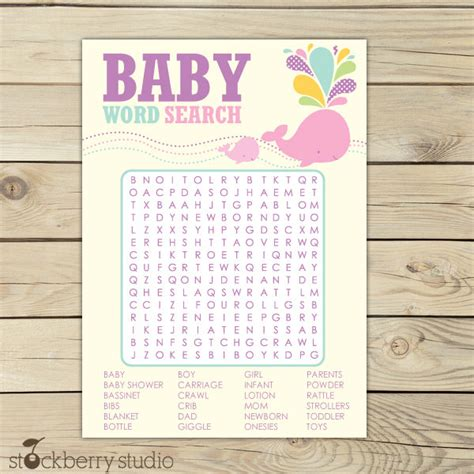 printable word search games for baby shower pink whale baby shower word search game girl baby shower