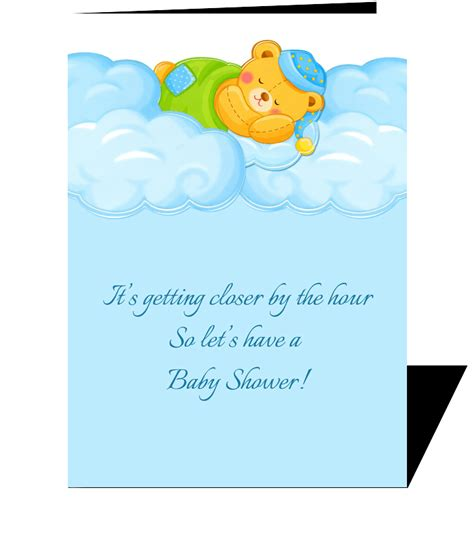 Baby Shower Greetings Cards by Blue Clouds Sleeping Baby Shower Send This