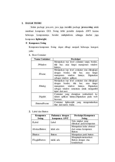 urutan membuat laporan hasil praktikum laporan praktikum modul 1 pemrograman swing