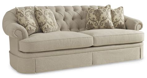 Collection One Upholstered Oxford Tufted Skirted Sofa Tufted Upholstered Sofa