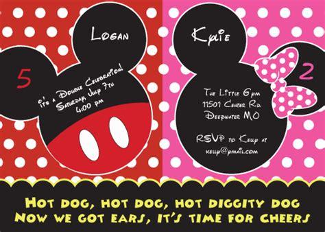 mickey  minnie mouse birthday invitations