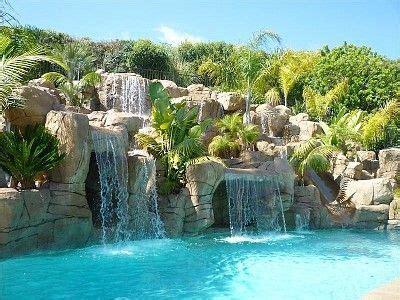underground pool house   waterfall