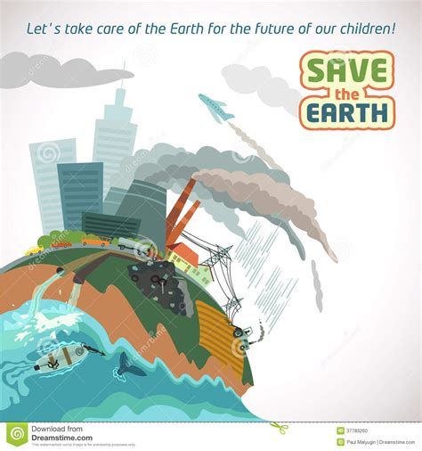 Kaos Save Earth From Pollution big city pollution eco poster stock vector image 37783260