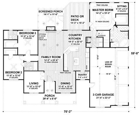 56 sq ft traditional style house plan 3 beds 3 baths 2097 sq ft