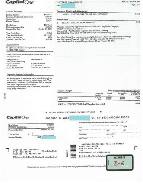 Visa Credit Card Statement Template Exh B 6 8 5 04 Visa Statement Only Refers To Capital One And Capital One Services