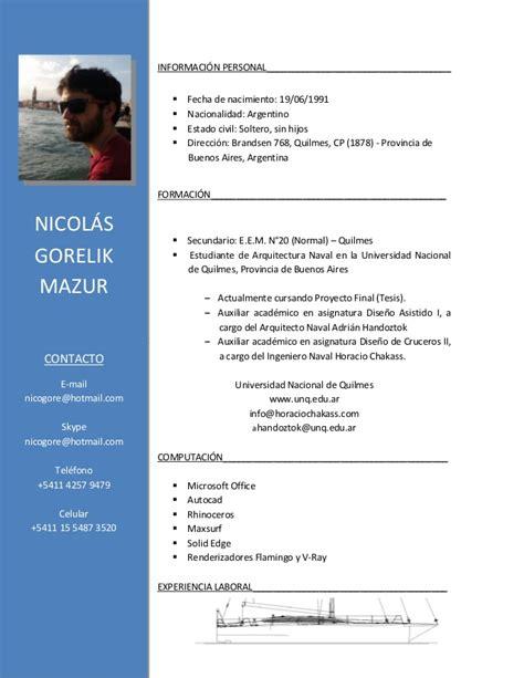 Modelo Curriculum Argentina 2017 Curriculum Vitae Nicol 193 S 2017