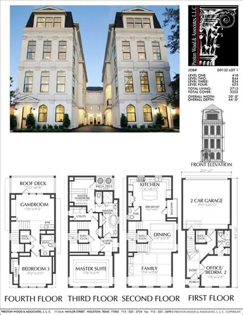 townhouse plan townhouse plan d9132 lots 1 4 plans pinterest