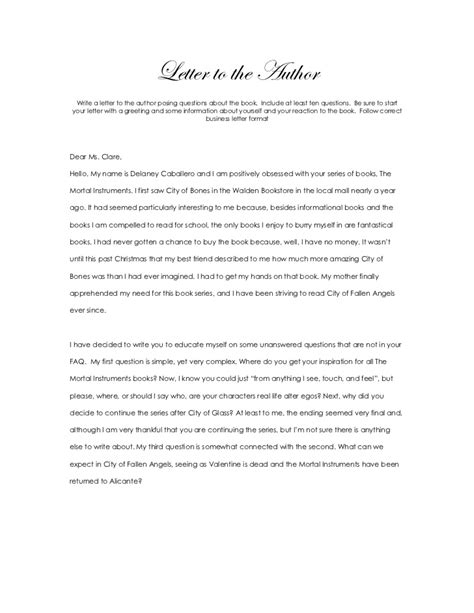 An Letter Letter To The Author