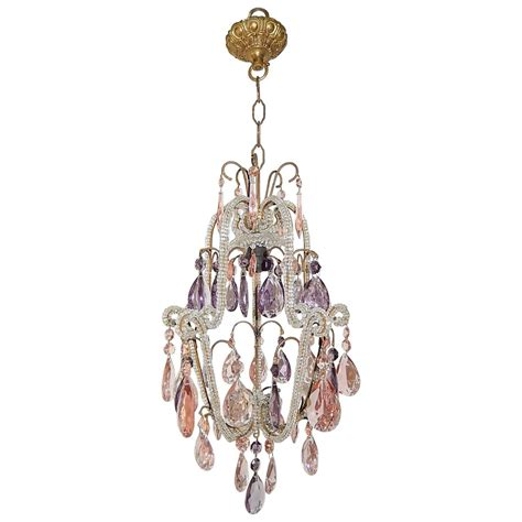 Purple Chandelier Beaded Pink And Purple Prisms Chandelier For Sale At 1stdibs