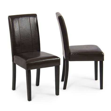 Leather Parsons Dining Room Chairs modern parsons chair leather dining living room chairs seat set of 2